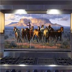 I would love to have a tile mural over my stove.. in my fancy dream home :)