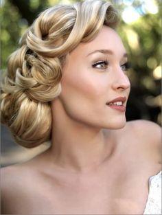 nice 40s inspired bridal hair and makeup
