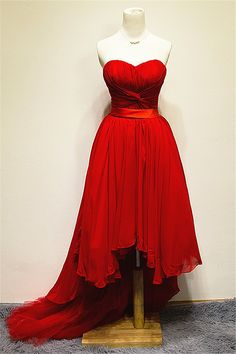Chiffon Hi-lo Sweetheart Red Sexy Evening Dress Ruffle Unique Sweep Train Tiered Lace-up Dresses for Women_Evening Special Occasion Dresses_Wedding Dresses Open Back Prom Dresses, High Low Prom Dresses, Prom Dresses 2016, Elegant Prom Dresses, Plus Size Prom Dresses, Party Dresses, Prom Gowns, Dress Party, Occasion Dresses