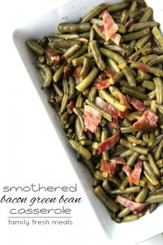 Are you bored of serving the same old green bean casserole? My Smothered Bacon Green Bean Casserole is a simple way to jazz up the holiday dinner table. Low Carb Side Dishes, Vegetable Side Dishes, Thanksgiving Recipes, Holiday Recipes, Christmas Recipes, Christmas Eve, Dinner Recipes, Green Bean Casserole Bacon, Family Fresh Meals