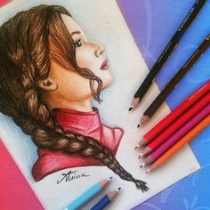 Jennifer Lawrence / Katniss Everdeen drawing by @Artistinx