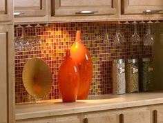 bright orange tile backsplash - photo #6