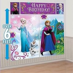 DISNEY FROZEN PRINCESS BIRTHDAY PARTY WALL SCENE SETTER BANNER DECORATION GIRLS