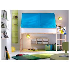 IKEA - A small kids' bedroom with plenty of space for both sleep and play, with a KLURA loft bed in solid pine and a green KURA bed tent. Ikea Kids, Cama Ikea Kura, Bed Tent Ikea, Tent Canopy, Kid Beds, Girl Room, Room Boys, Kids Rooms, Kids Bedroom