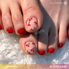Pedicure photography sweets 60 new ideas Pedicures Girls Nail Designs, Toe Nail Designs, Pedicure Nail Art, Toe Nail Art, Cute Toe Nails, Pretty Nails, Feet Nail Design, Fruit Nail Art, Cherry Nails