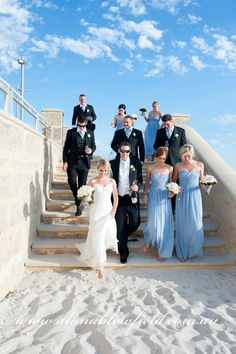 Beach wedding group photo