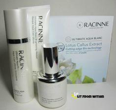 Review of Racinne Aqua Blanc Brightening Series.