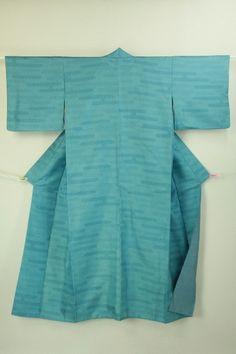 Walter blue komon, Kasuri pattern / 水色地 絣のヱ霞柄 化繊小紋    #Kimono #Japan http://global.rakuten.com/en/store/aiyama/