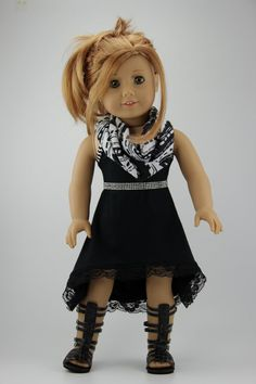 "American Girl doll clothes - High low strappy dress with FREE infinity scarf (fits 18"" doll) (404blk)"