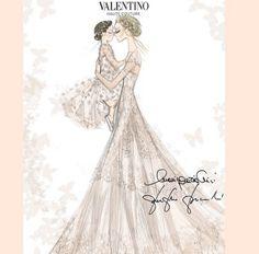 Croquis de la robe de mariée Valentino de Frida Giannini et de la robe de demoiselle d'honneur de sa fille Greta http://www.vogue.fr/mariage/inspirations/diaporama/la-robe-de-marie-valentino-de-frida-giannini/20911/carrousel#la-robe-de-marie-valentino-de-frida-giannini-2