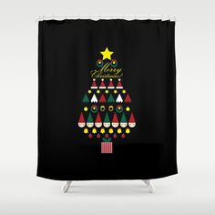 FLAT CHRISTMAS series -CHRISTMAS TREE_black Shower Curtain by SEOL.D - $68.00