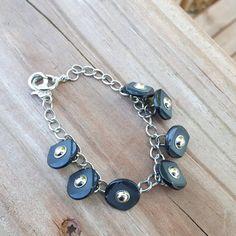Vintage Button Bracelet Silver Black Buttons by RagzandRelics