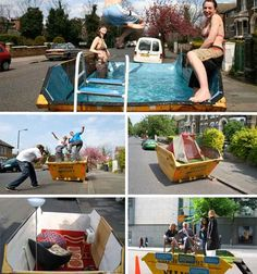 How many different ways can you upcycle an old dumpster? The Skip Conversions project turns them into swimming pools, skate ramps and more. Reduce Reuse Recycle, Upcycle, Dumpster Pool, Urban Intervention, Metal Containers, Adaptive Reuse, Guerilla Marketing, Public Art, Urban Art