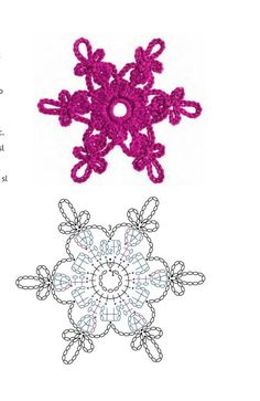 crochetelements - Her Crochet - Gwiazdki Crochet Jewelry Patterns, Crochet Snowflake Pattern, Crochet Stars, Christmas Crochet Patterns, Crochet Snowflakes, Crochet Flower Patterns, Thread Crochet, Crochet Flowers, Crochet Stitches