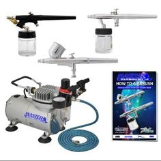 Pro Airbrush System with Set of 3 Airbrushes, Air Compressor Kit Dual-Action
