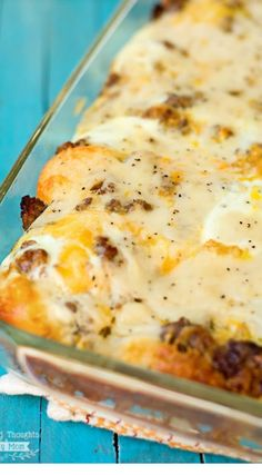 Biscuits and Gravy with Sausage and Egg Breakfast Casserole recipe. This breakfast dish is perfect to double for large groups and can be assembled the night before for practically no morning prep.