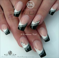 White, silver and black acrylic nails . Inspired by - Today Pin - White, silver and black acrylic nails … Inspired by nail - Silver Nail Designs, Black And White Nail Designs, Nail Art Designs, Nails Design, Black Acrylic Nails, Black Nail Art, Black Nails, Acrylic Gel, Fancy Nails