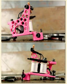 """Tattoo Machines: Seth Ciferri Limited Edition Lightened Pink Owens Shader    - CNC Iron Owens Frame  - Drilled and Lightened Sideplate  - Custom Gloss Pink Finish  - Deluxe Blackened Hardware  - 1"""" 8 Wrap Custom Coils  - Quick with a Solid Hit  - 110-115 Hz @ 6 V Unloaded  - 5's to 11's Easy  - Limited Edition of only 20"""