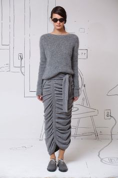 Grey knit sweater paired with grey gathered knit skirt by Band of Outsiders. #IStyleNY #Style