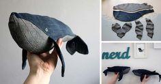 Kreatívny DIY nápad a návod urob si sama na krásnu hračku pre deti - veľryba zo starých džínsov. Upcyklácia riflí, staré rifle, handmade, sitie, recyklacia