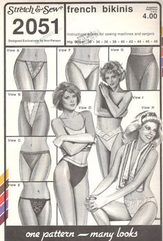 Stretch & Sew 2051; French Bikinis. Views A, C, E, F, H and I are bikinis; View B, D and G are French briefs that go to the waist. All views feature a cotton-lined crotch. Views A, B, C, D and E, string bikinis and briefs, have a separate front and back connected with elastic. Views A and B have front lace overlays, with casings covering upper edge elastic; Views C and D are plain, with choice of wide lingerie elastic or stretch lace at upper edge. View E has a lace front. View F, G, H an...