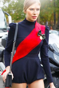 sash & medallion make for chic military accents at Paris Fashion Week #streetstyle