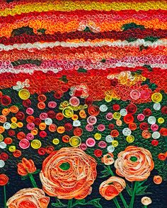 Rannucula flower field mosaic quilled digital art - peach flower abstract quilling - Mothers Day gift - quilled wall art - floral wall art