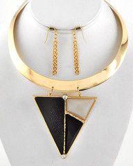 Triangulator Gold Choker Statement Necklace-$48-Find hot fashion jewellery and statement jewlry at Strike Envy. #jewellery #jewlry