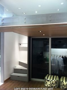 Loft Bed With Closet Underneath And Drawer Staircase. Space Saver!
