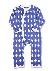 438c3fb72da Penguin Kimono Romper Dark Blue Organic Cotton Baby Kimono