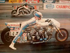 Russ Collins on the triple Honda CB750 called Aitcheson Topeka and Santa Fe ! If I remember right this was the bike that nearly killed Russ ! It ended up as a coffee table in his office !