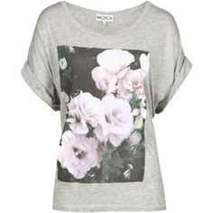 Wildfox Romantic Rose T Shirt ($53) ❤ liked on Polyvore featuring tops, t-shirts, shirts, blusas, cotton t shirts, white short sleeve shirt, white t shirt, white crew neck t shirt and white shirt