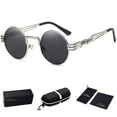 78f46e8346c Dollger John Lennon Round Sunglasses Steampunk Metal Spring Frame Mirror  Lens (Black Lens+ Silver Frame