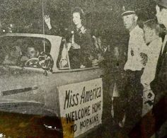 BeBe Shopp, Miss America 1948, rides in a parade in her honor.Credit: Unknown newspaper