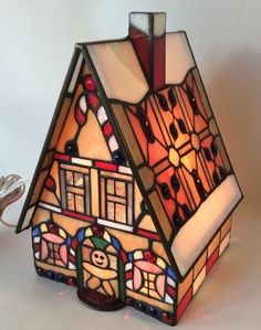 Stained Glass Gingerbread House Night Light Lamp Christmas Decor Accent