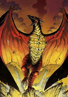 Godzilla King of all Monsters: Fire Rodan Flying Monsters, Cool Monsters, Classic Monsters, King Kong, Godzilla Comics, Godzilla Godzilla, Godzilla Tattoo, Transformers, Aliens