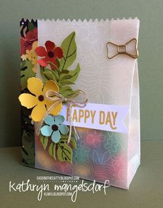 Stampin' Up! Botanical Blooms, Botanical Builder Framelits Dies, Mini Treat Bag Thinlits, Perfect Pairings Gift Bag by Kathryn Mangelsdorf
