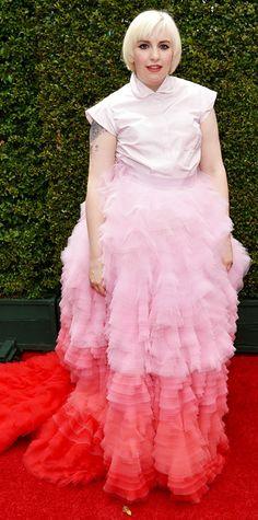 Emmy Awards 2014 Red Carpet Photos - Lena Dunham in Giambattista Valli. #InStyle