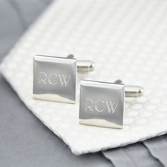 Silver Square Cuff Links - Dress to impress with our Silver Square Cuff Links. These fashionable yet functional silver and chrome-styled cuff links can be engraved with 3 block initials at no extra cost! They're excellent choices for co-ed bridal party gifts, or for the groom-to-be. http://www.favorfavor.com/page/FF/PROD/1103SCC