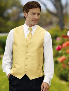 Canary Yellow from David's Bridal looks great on men too! #menswearhouse #tuxedos #weddings