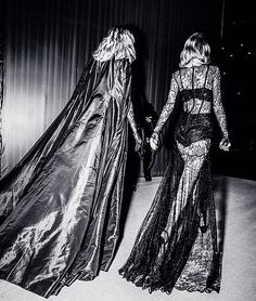 Karlie and Taylor in their stunning capes at the Victorias Secret Fashion Show via karliekloss