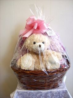 Teddy Bear + Crochet Blanket Gift Basket donated to Comtrea's Rags to Riches Silent Auction