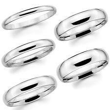 Solid 14K White Gold 2mm 3mm 4mm 5mm 6mm Comfort Fit Men Women Wedding Band Ring