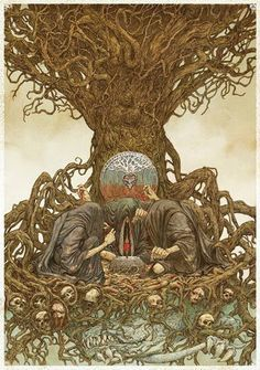 The Norns: Urðr (past), Verðandi (present) and Skuld (future); female beings who rule the destiny of gods and men (Norse Mythology)