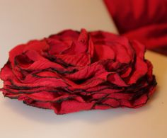 Big Beautiful Red Flower hair bow by FancyBeauty on Etsy