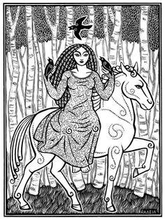 Rhiannon, Goddess of horses and sovereignty in Welsh legend. Artwork by Thalia Took. Celtic Goddess, Celtic Mythology, Moon Goddess, Triple Goddess, Goddess Of Love, Vikings, Book Of Kells, Celtic Tree, Celtic Designs