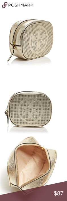 "New Tory Burch Leather Cosmetic Case! New Tory Burch Leather Cosmetic Case! Two words, Tory Burch.  Our make-up can only be so lucky to be put away in this effortlessly elegant make-up case. Her iconic logo pops in metallic gold on its exterior and inside it makes its appearance throughout. It's very generous size will provide ample space for your beauty essentials.  Measures 7"" in Length, 2.75"" in Width and 5.5"" in Height. Tory Burch Bags Cosmetic Bags & Cases"