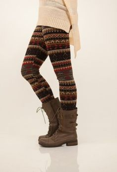 like her boots,leggings, and sweater