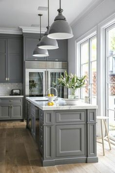Below are the Gray Farmhouse Kitchen Cabinet Makeover Ideas. This article about Gray Farmhouse Kitchen Cabinet Makeover Ideas was posted … Refacing Kitchen Cabinets, Farmhouse Kitchen Cabinets, Kitchen Cabinet Design, Painting Kitchen Cabinets, Farmhouse Kitchens, Kitchen Countertops, Remodeled Kitchens, Red Cabinets, Cabinet Refacing