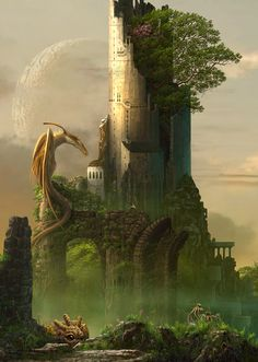 castle cloud creature dragon fantasy grass highres moon original scenery sky tree ucchiey wings